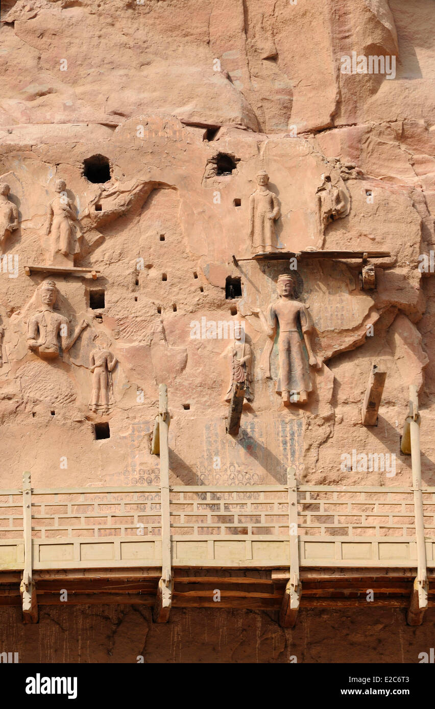 China, Gansu, Bingling Si caves, Sculpted Buddhas - Stock Image