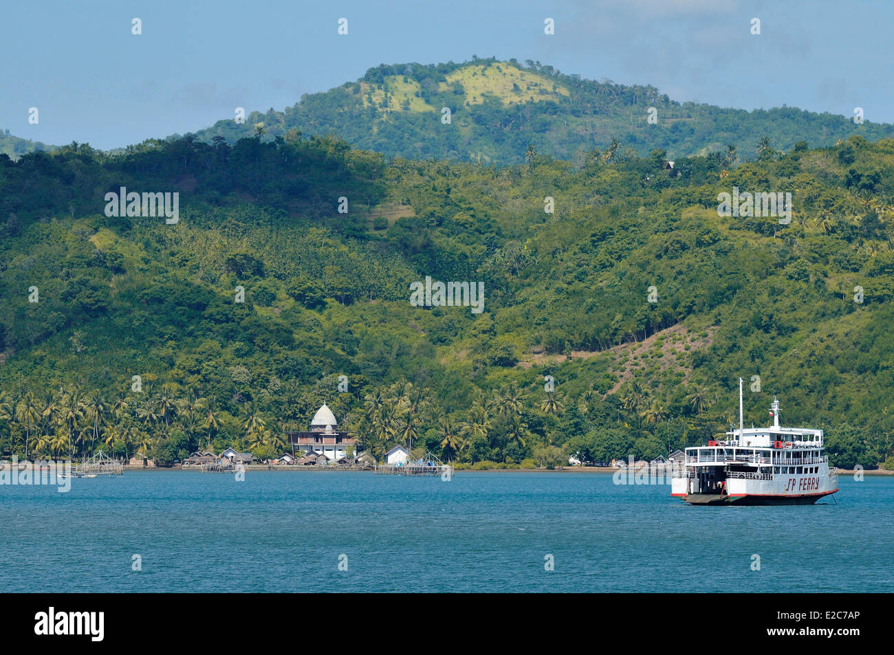 Indonesia, Lombok, the ferry arrives in Lembar bay - Stock Image