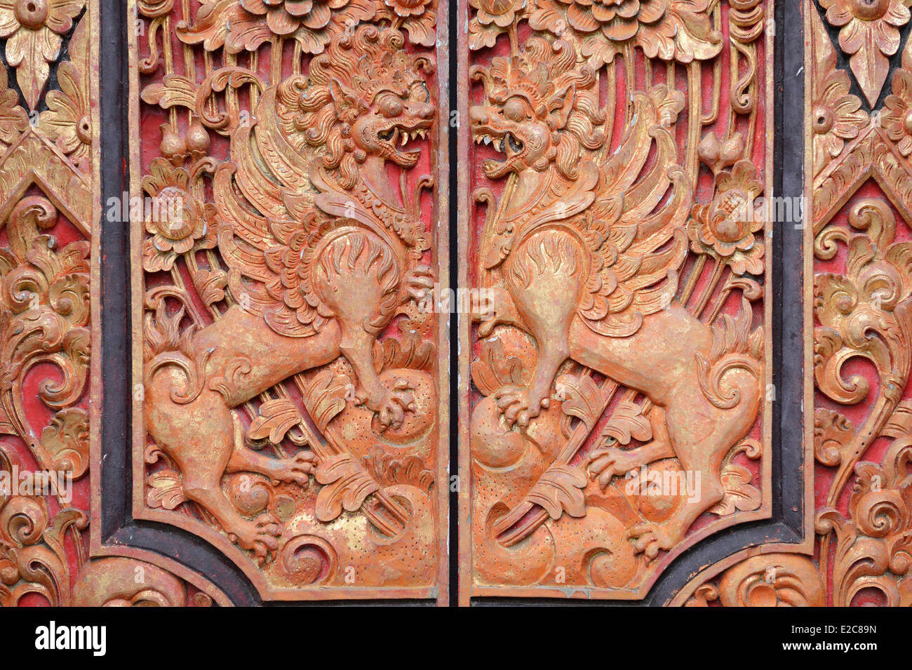 Indonesia, Bali, Ubud, detail of a temple - Stock Image