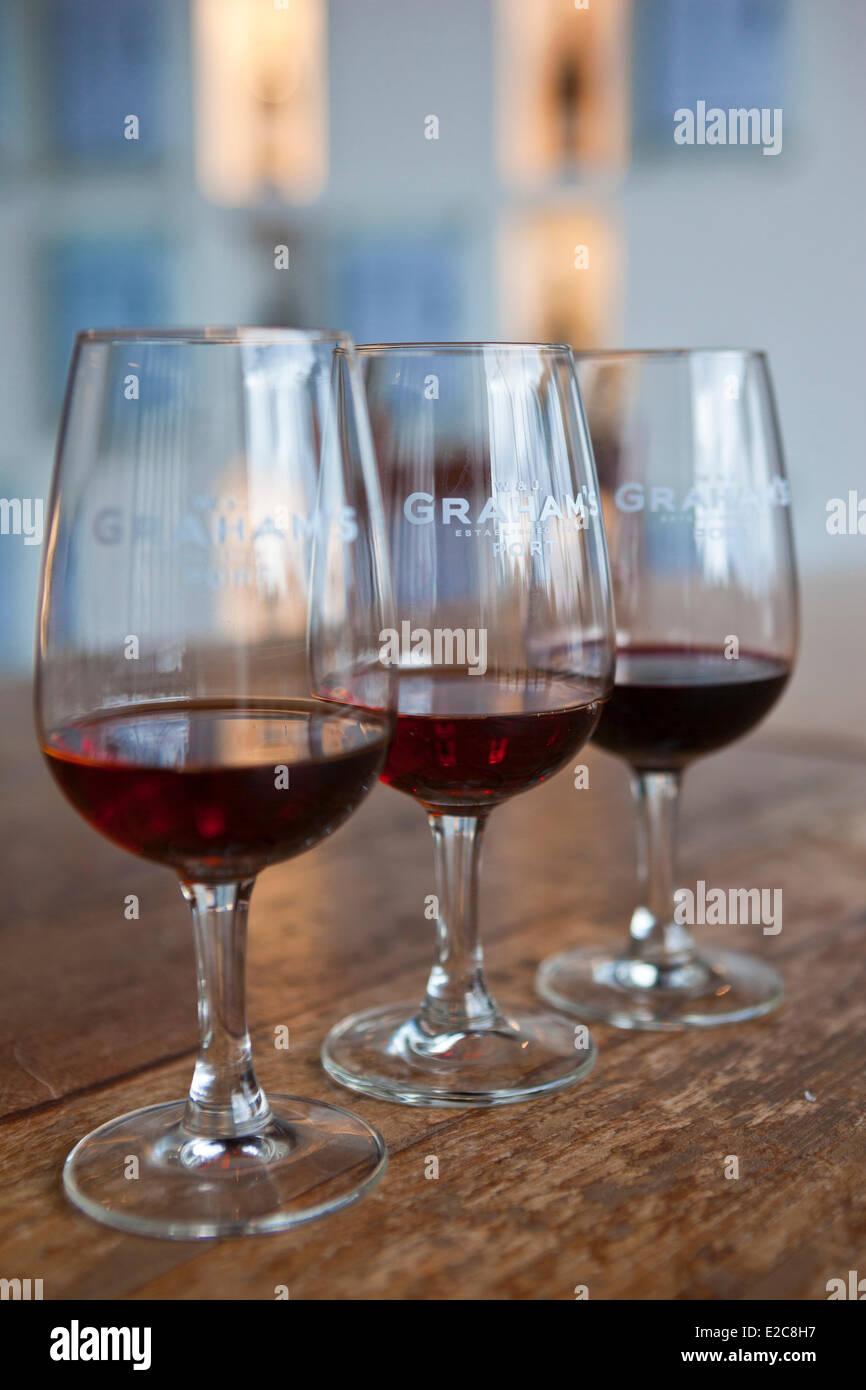 Portugal, Norte Region, Porto, district of Vila Nova de Gaia, Port bottles in Graham's Cellar Stock Photo