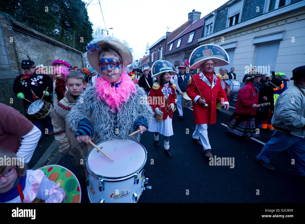 France, Nord, Cassel, Spring Carnival, the awakening of the city by drums - Stock Image