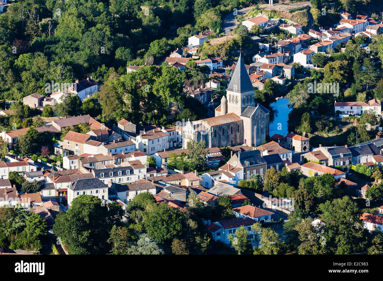 France, Vendee, Mareuil sur Lay Dissais (aerial view) - Stock Image