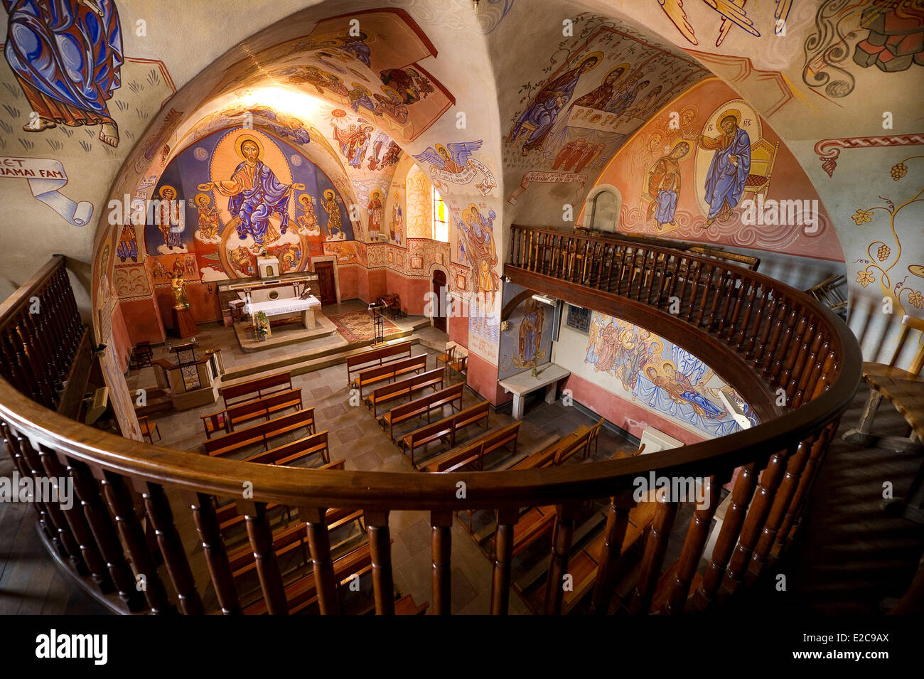 France, Aveyron, Saint Victor et Melvieu church decorated by the painter Nicolai Greschny - Stock Image