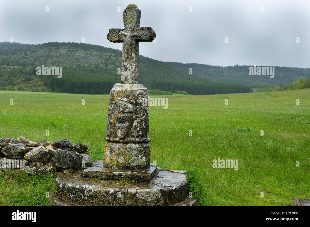 France, Lozere, The Buffre crosses carved granite, Causse Sauveterre - Stock Image