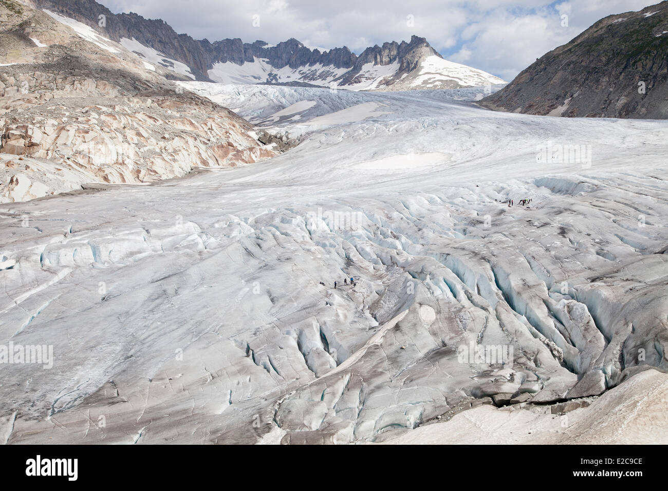 Switzerland, Canton of Valais, the Rhone Glacier in the Swiss Alps - Stock Image