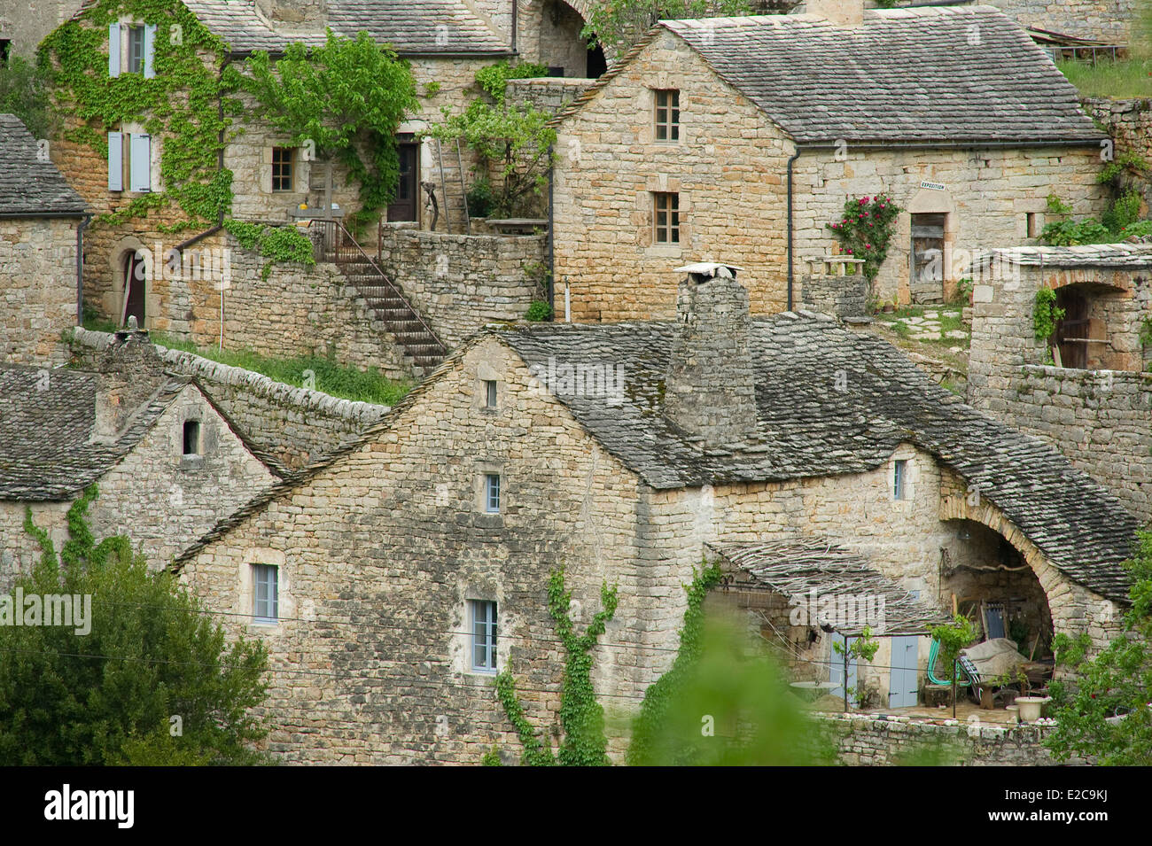 France, Lozere, Sainte Enimie hamlet Hauterives, Gorges du Tarn - Stock Image