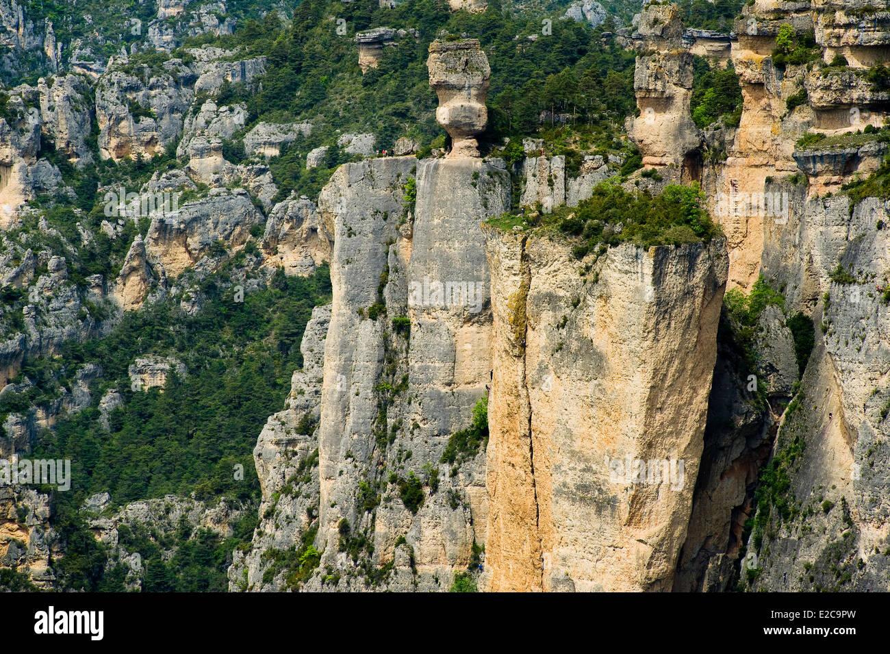 France, Lozere, Gorges de la Jonte, the Sevres vase, the famous rock formation causse Mejean - Stock Image