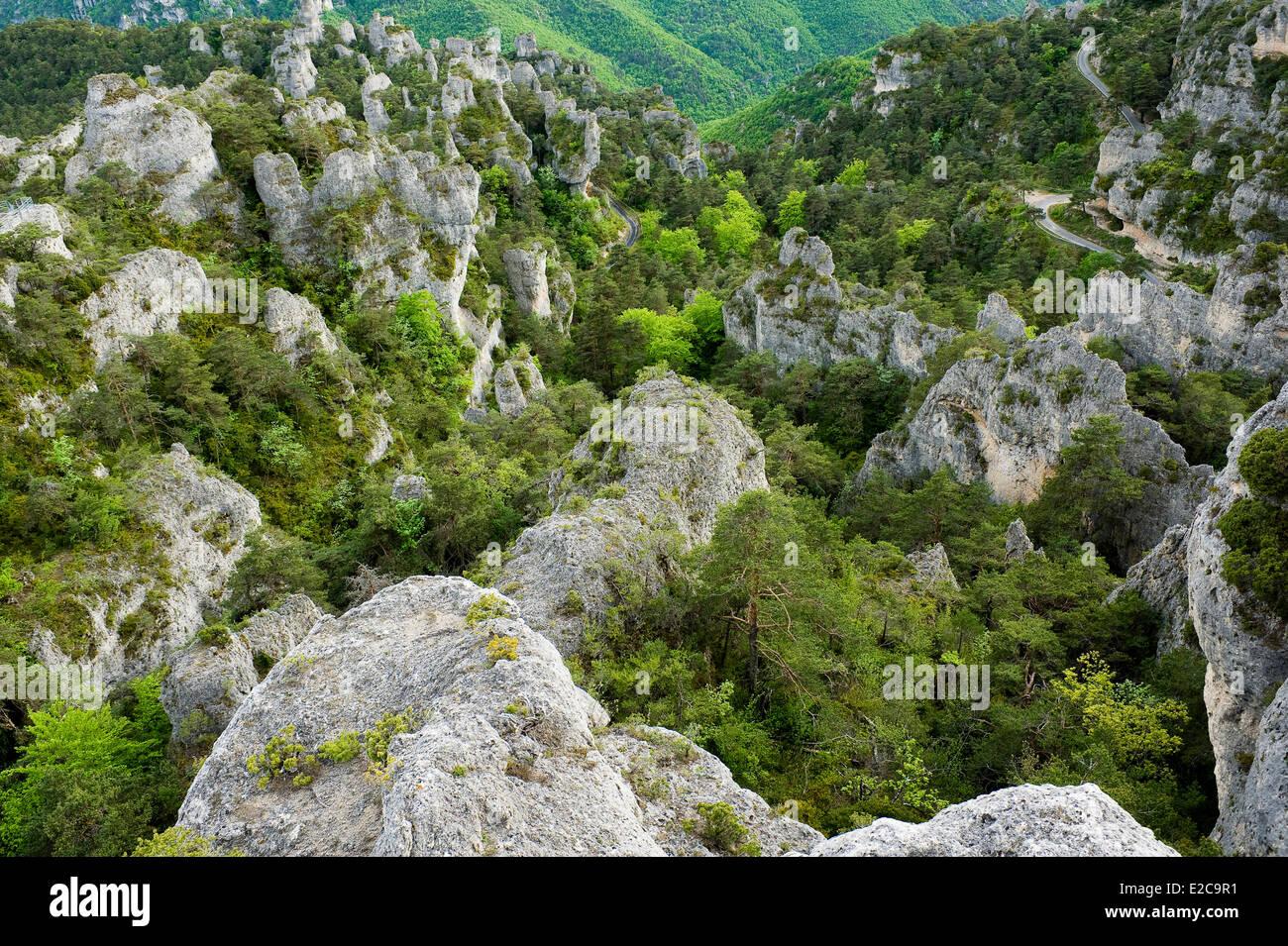 France, Aveyron, La Roque Sainte Marguerite, Chaos de Montpellier le Vieux, on the Causse Noir - Stock Image