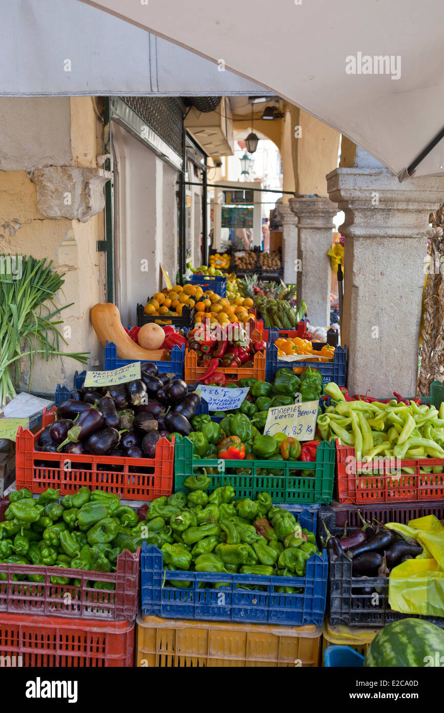 Greece, Ionian Islands, Corfu, Kerkyra, the old town style Italian listed as World Heritage by UNESCO Stock Photo