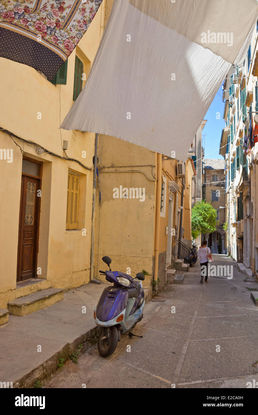 Greece, Ionian Islands, Corfu, Kerkyra, the old town style Italian listed as World Heritage by UNESCO - Stock Image