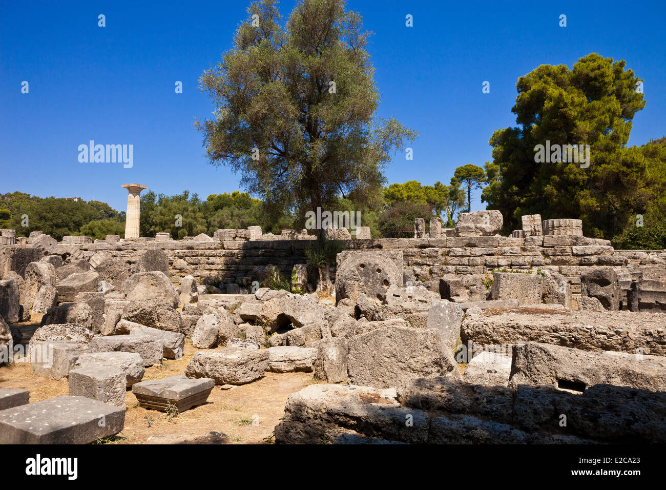 Greece, Peloponnese Region, the archaeological site of Olympia, listed as World Heritage by UNESCO - Stock Image