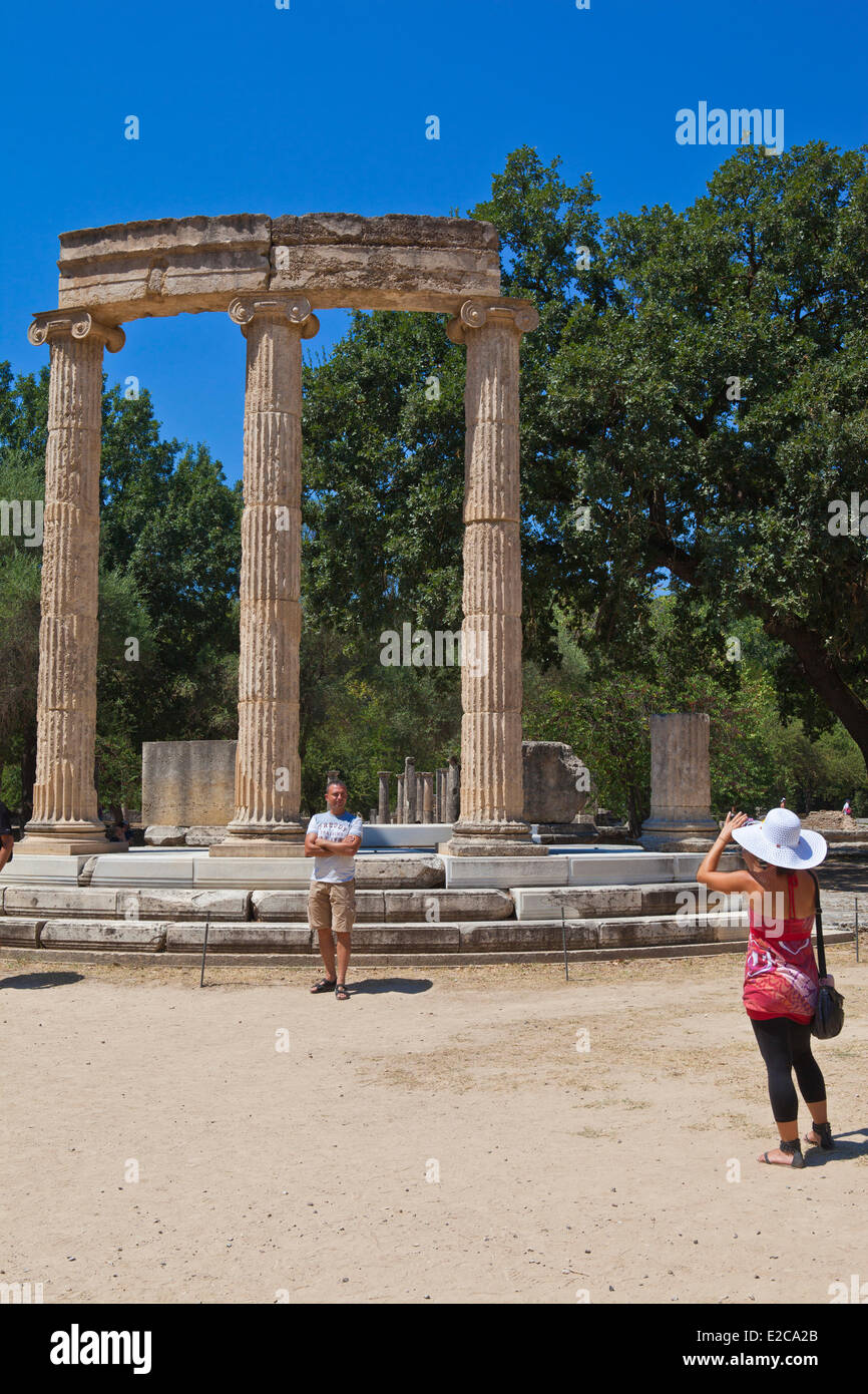 Greece, Peloponnese Region, Olympia, listed as World Heritage by UNESCO, Philippeion - Stock Image