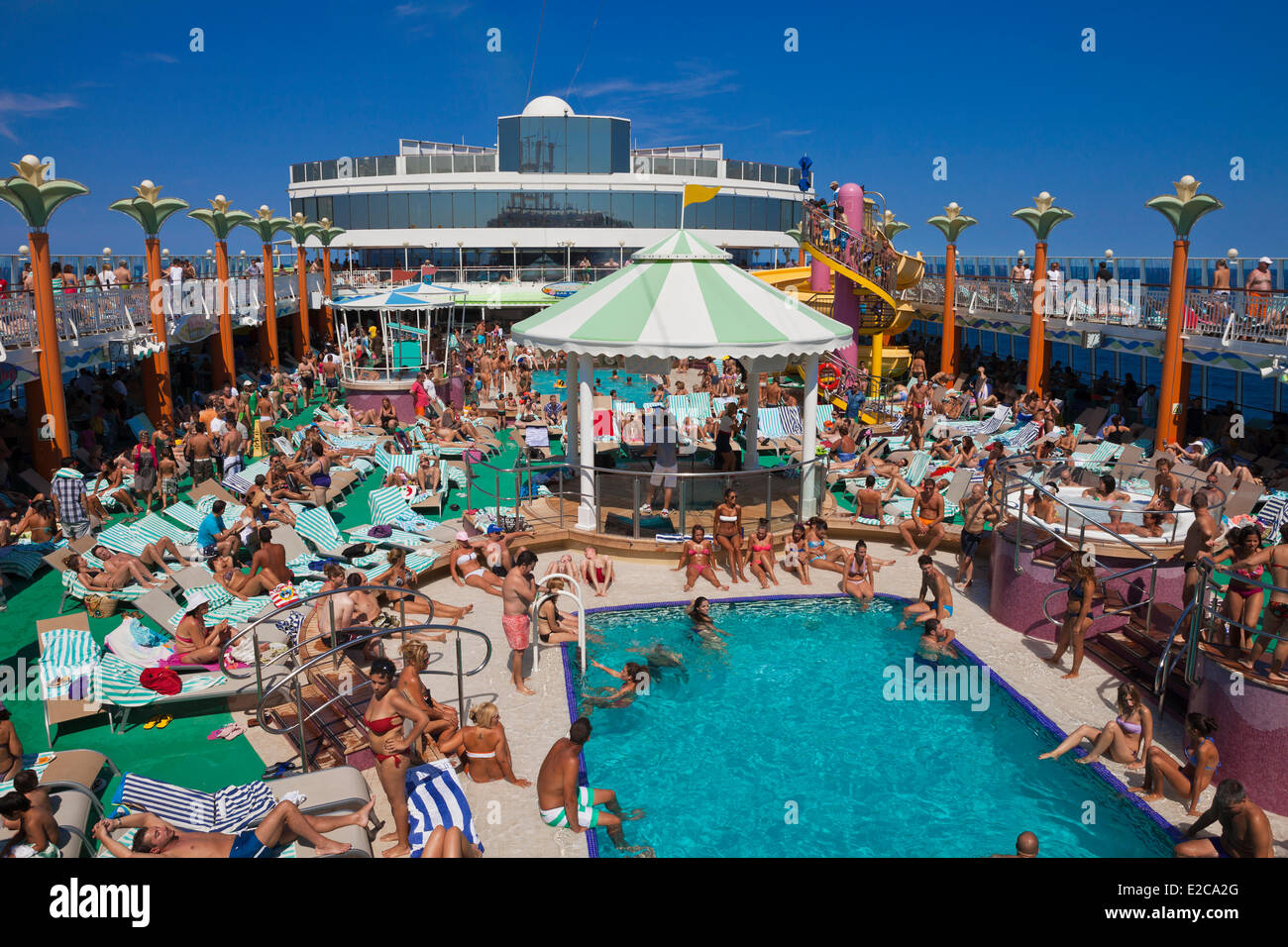 Greece The Cruise Ship Norwegian Jade The Upper Deck With Swimming Stock Photo Alamy
