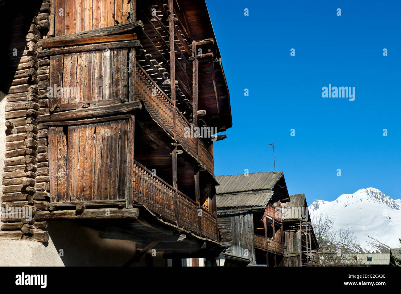 France, Hautes Alpes, Regional Natural Park of Queyras, Molines en Queyras, traditional houses in Pierre Grosse - Stock Image