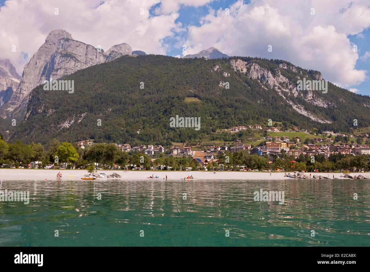 Italy, Trentino Alto Adige, Dolomites, Brenta group, Lake Molveno - Stock Image