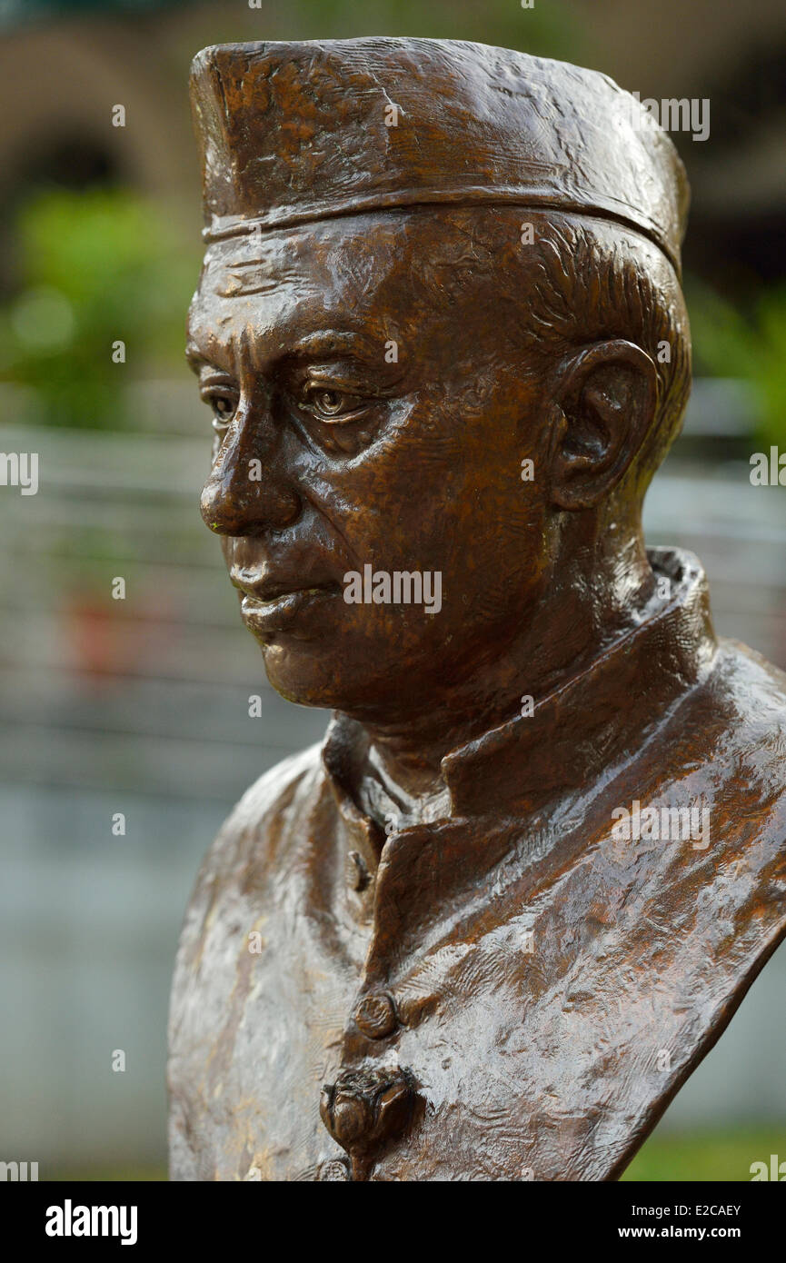 Singapore, Boat Quay, the statue of Jawaharlal Nehru, the first Prime minister of India - Stock Image