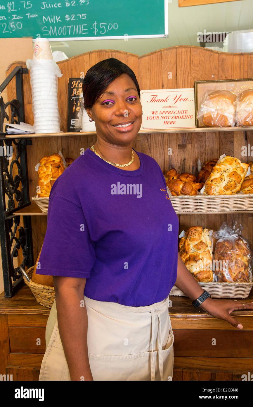 Bahamas, Harbour Island, Arthur's Bakery, portrait of Anna Arthur - Stock Image