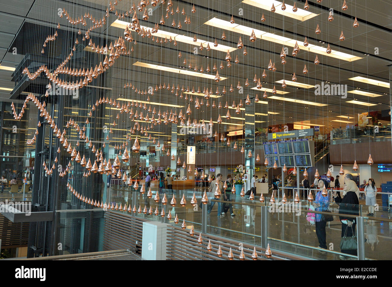 Singapore, in Terminal 1 of Changi Airport is a relaxing artistic work, Kinetic Rain, by Joachim Sauter from ART - Stock Image