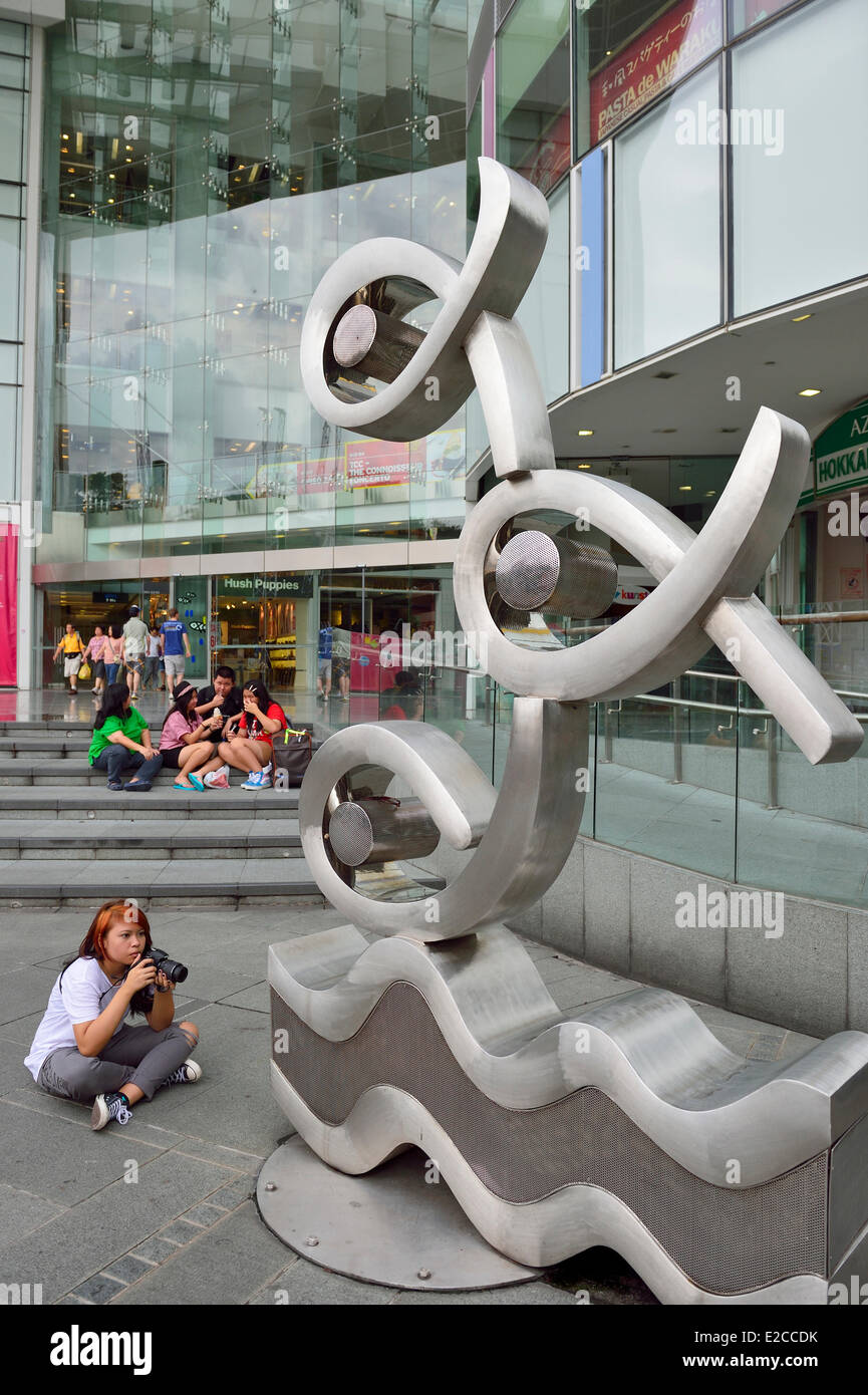 Singapore, work of art in front of the shopping Centre Central along Clarke Quay - Stock Image