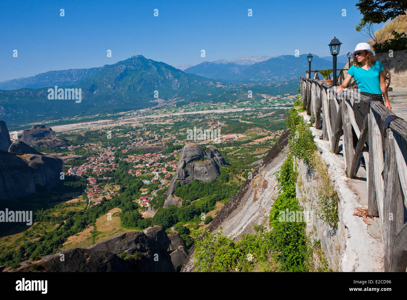 Greece, Thessaly, Meteora monasteries complex, listed as World Heritage by UNESCO, Monastery Varlaam - Stock Image
