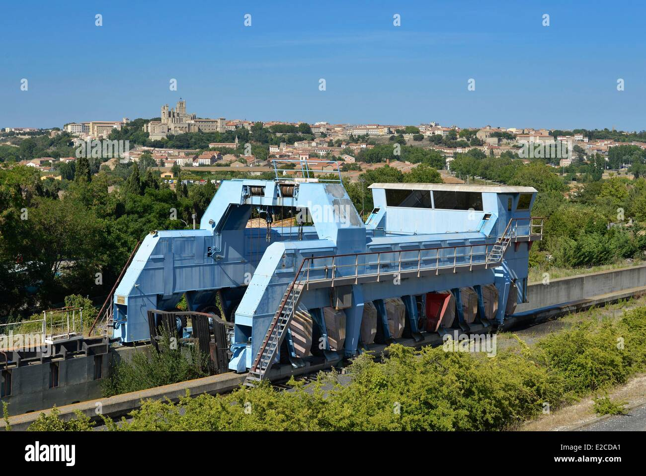 France, Herault, Beziers, Former engine on tires settled on a slope of water which had to serve to make cross locks - Stock Image