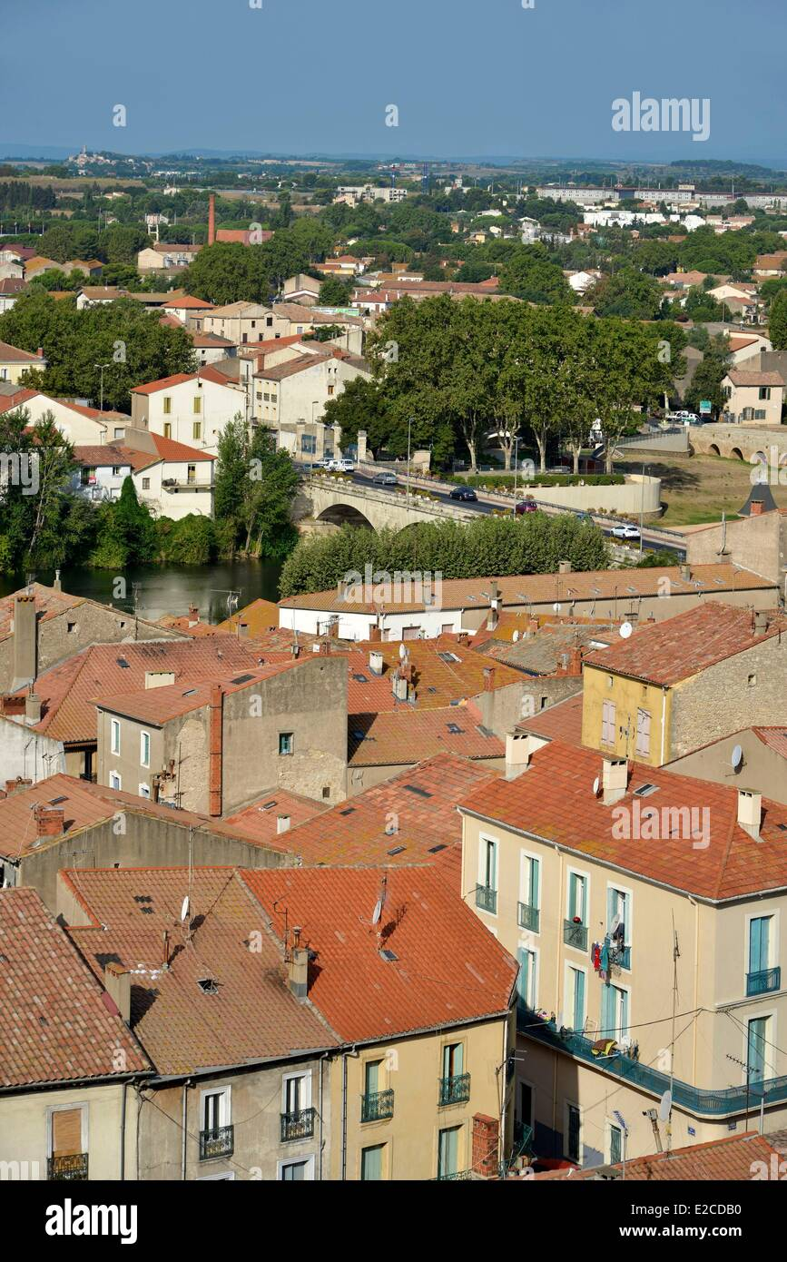 France, Herault, Beziers, panorama on the suburbs of the city from the square Saint Jacques - Stock Image