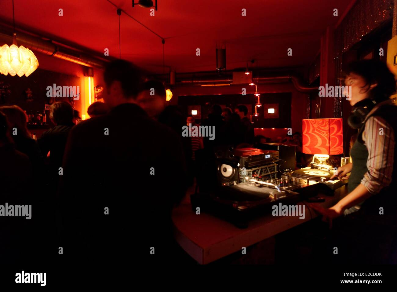 Germany, Berlin, Mitte, Astro Bar disc jockey in the district of Friedrichshain - Stock Image