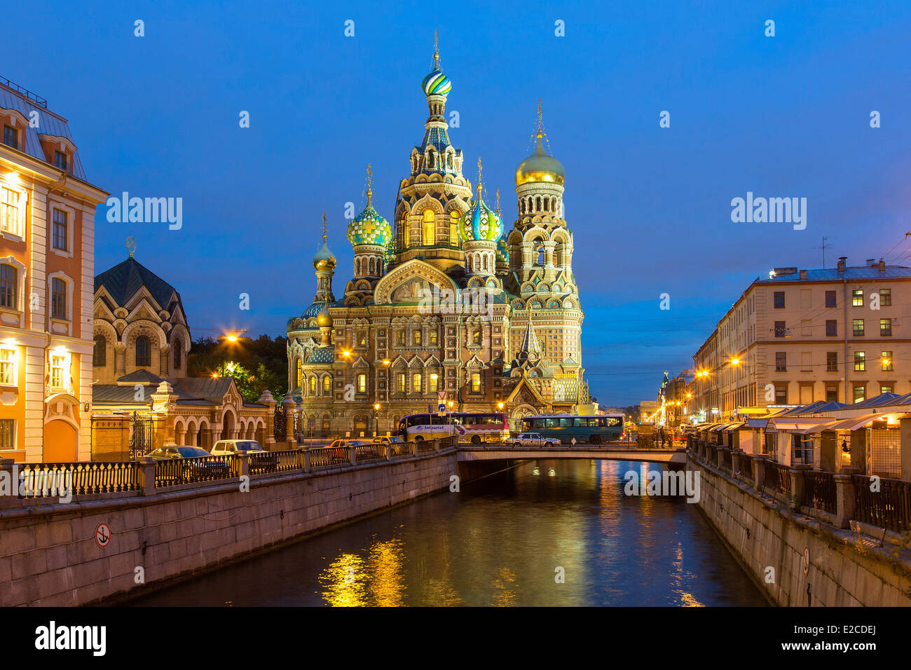 Russia, Saint Petersburg, listed as World Heritage by UNESCO, Church of the Saviour on Spilled Blood at Dusk - Stock Image