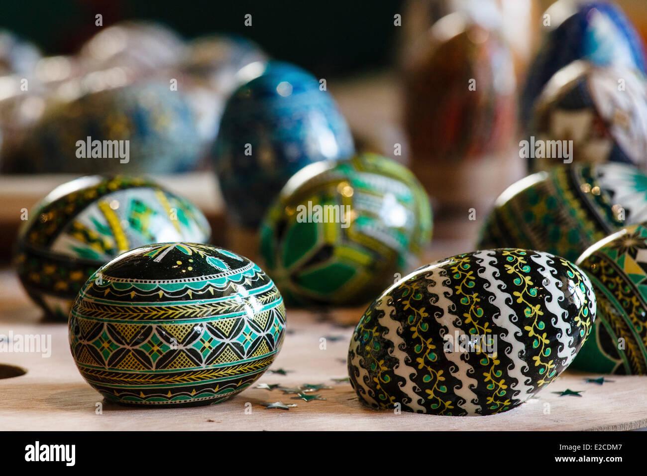 Romania, Bukovina Region, Moldovita, painted Easter eggs - Stock Image