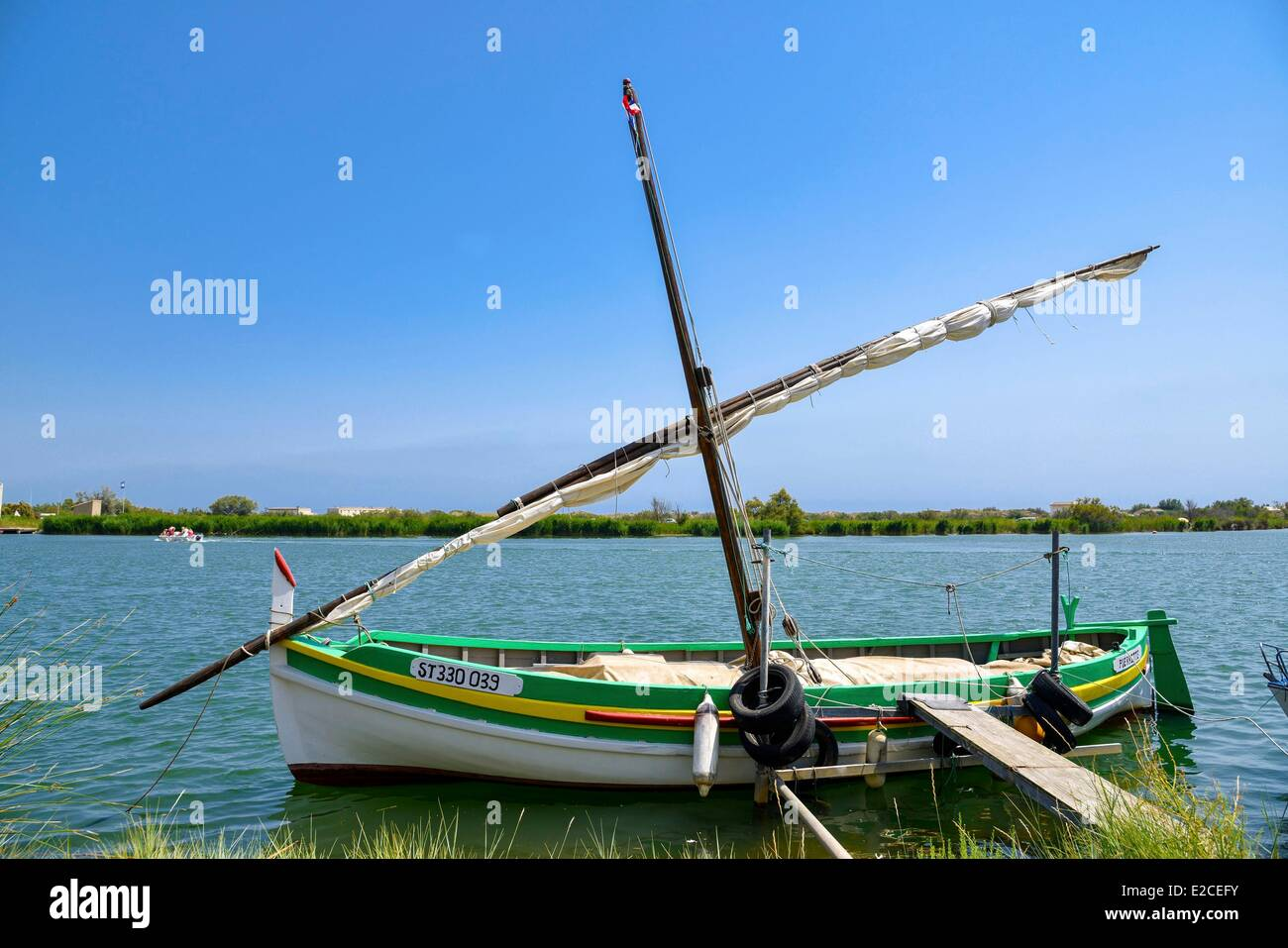 France, Herault, Valras Plage, lateen sail in front of Domaine des Orpellieres - Stock Image