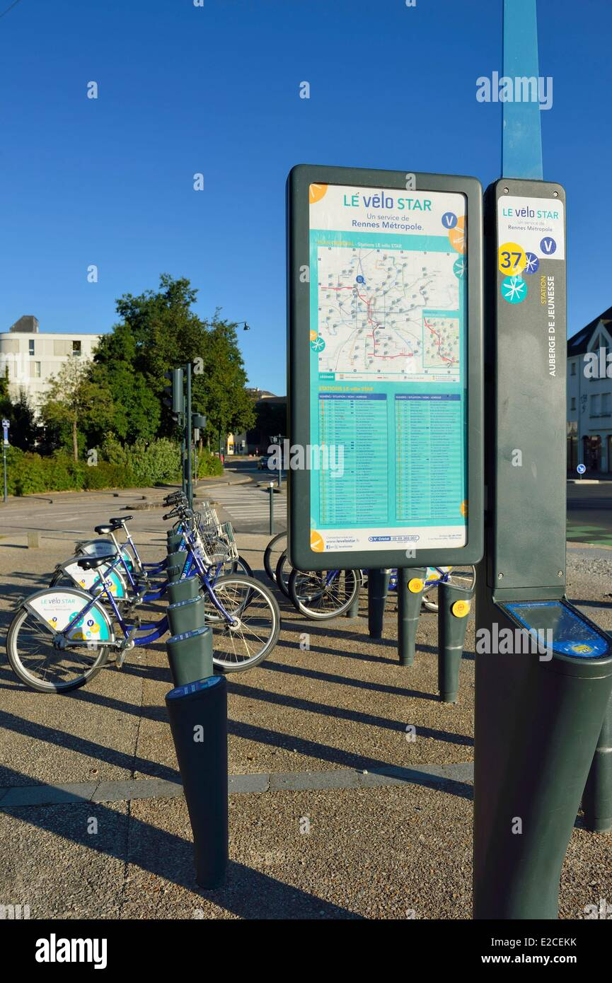 France, Ille et Vilaine, Rennes, free rental cycles - Stock Image