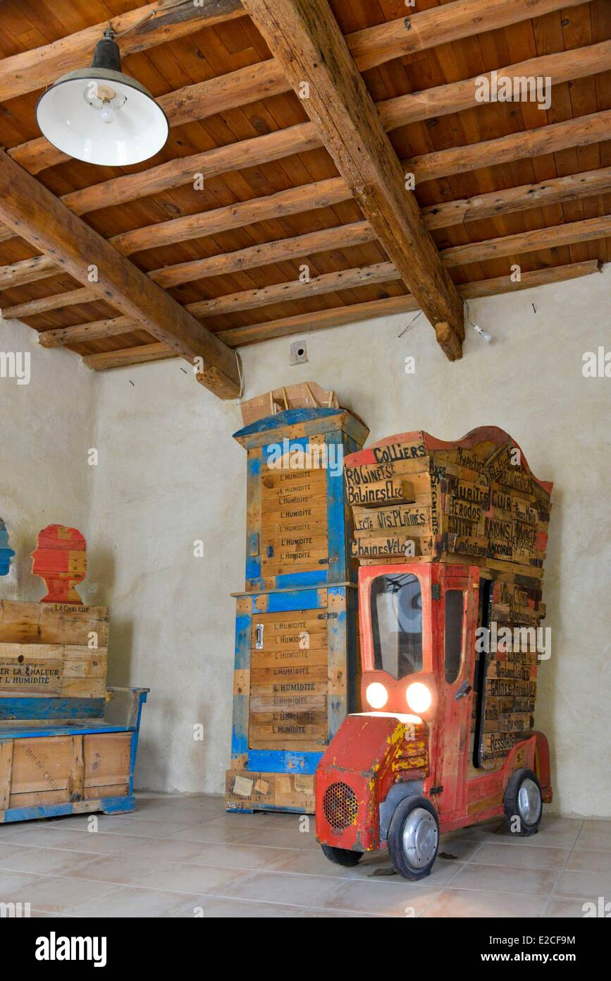 France, Herault, Bassan, Museum of Furniture Modeste, furniture realized from diverted objects and from salvaged - Stock Image