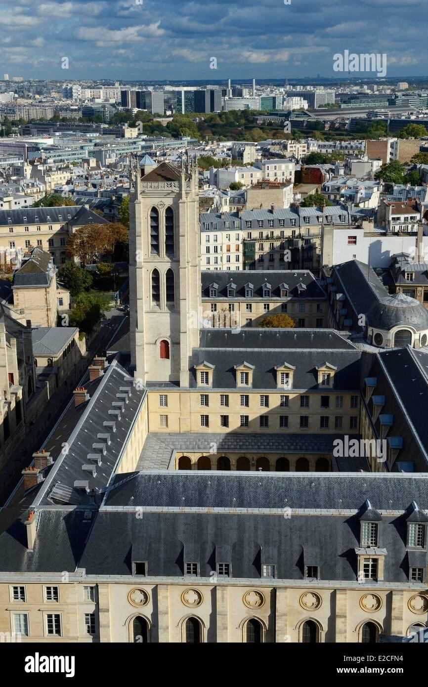 France, Paris, Latin Quarter, Tower of Clovis Lycee Henri IV - Stock Image