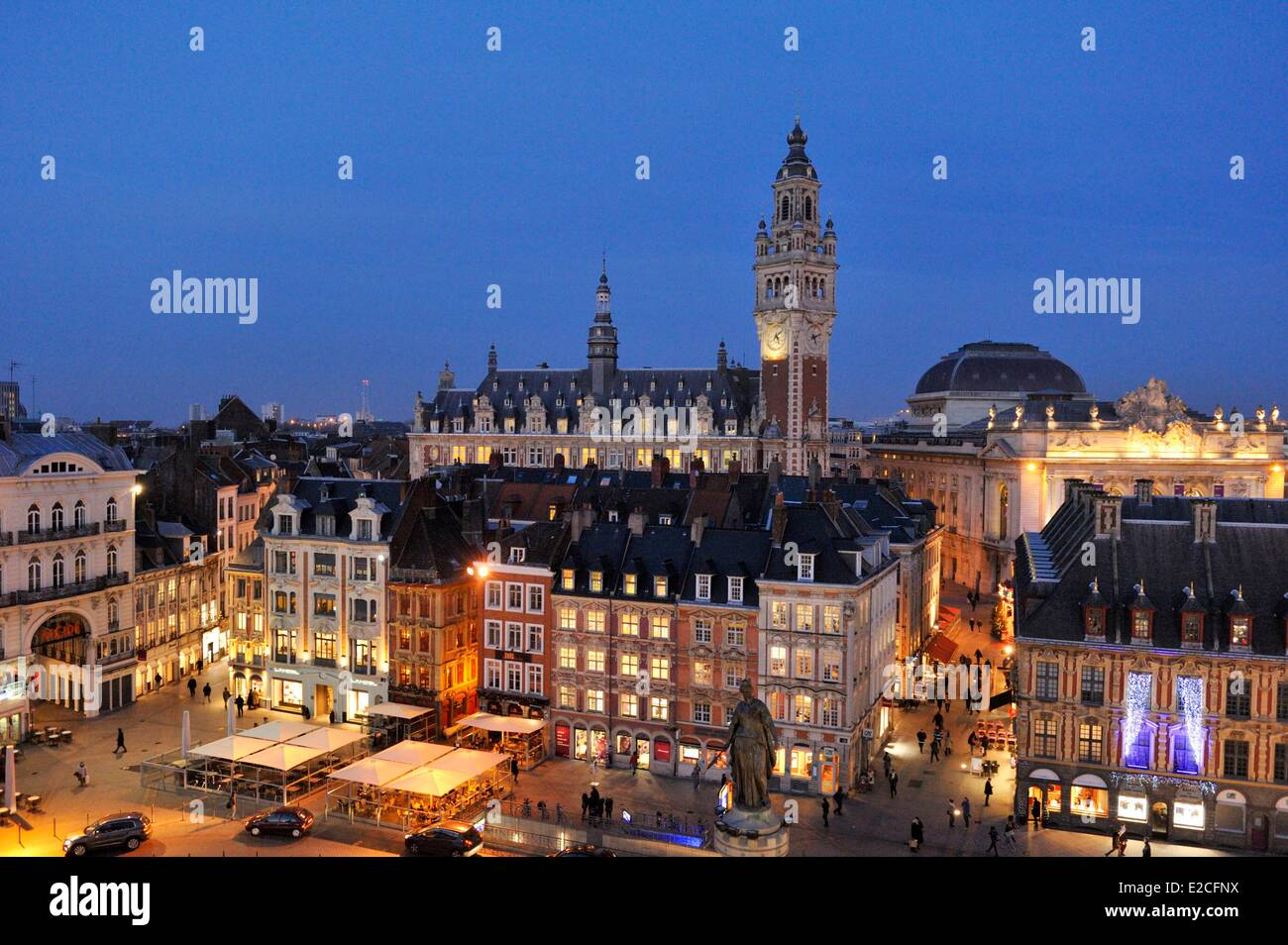 France, Nord, Lille, belfry of Chamber of Commerce and Industry and Grand Place from big wheel set up for Christmas - Stock Image