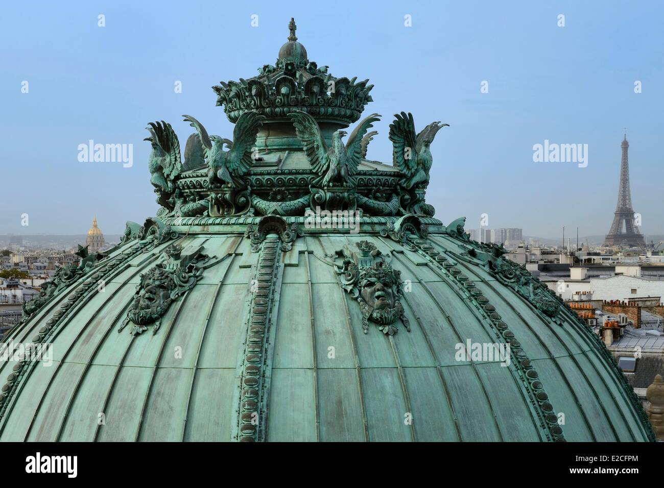 France, Paris, Garnier Opera, rotunda cupola of the season ticket holders and the Eiffel Tower - Stock Image