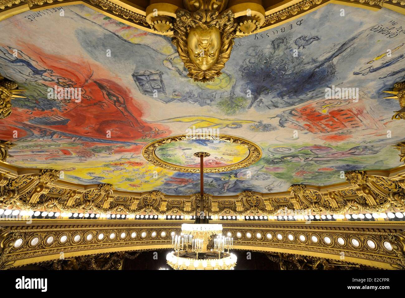 France, Paris, Garnier Opera, the ceiling cupola decorated by Marc Chagall in the auditorium - Stock Image