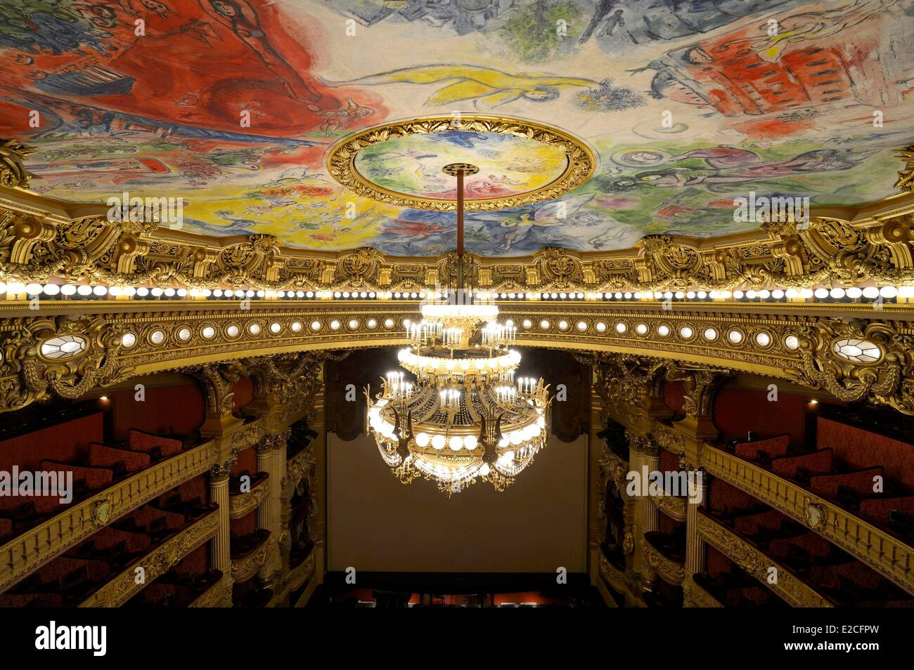 France paris garnier opera the ceiling cupola decorated by marc france paris garnier opera the ceiling cupola decorated by marc chagall in the auditorium and the 7 to 8 ton bronze and crystal chandelier designed by aloadofball Images