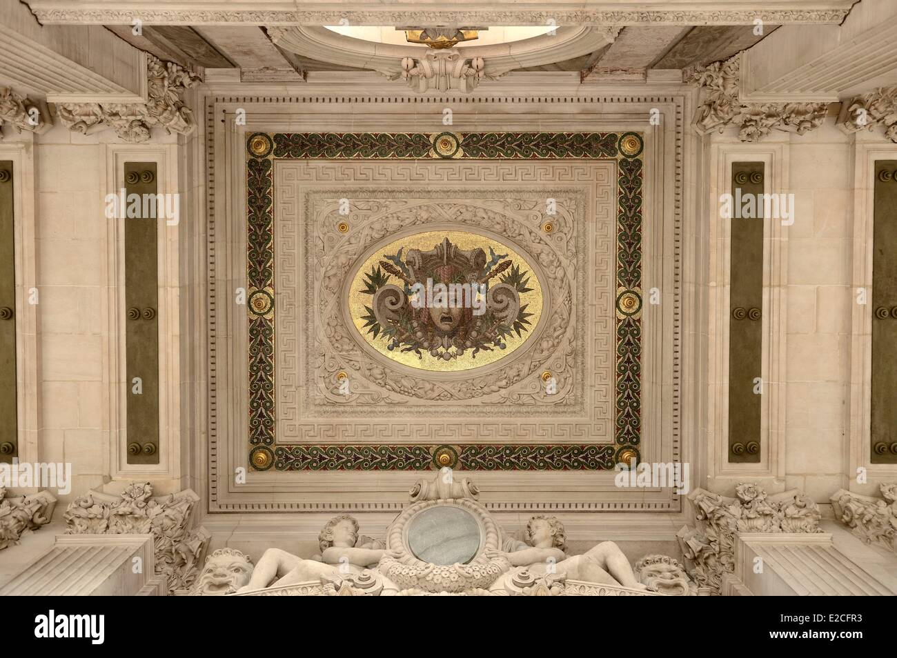 France, Paris, Garnier Opera, detail of the ceiling of the terrace from the South Facade - Stock Image