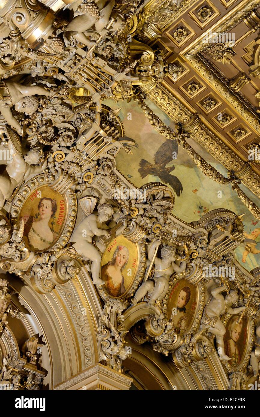 France, Paris, the Garnier Opera, detail of the ceiling and the little terrace of the Foyer de la Danse - Stock Image