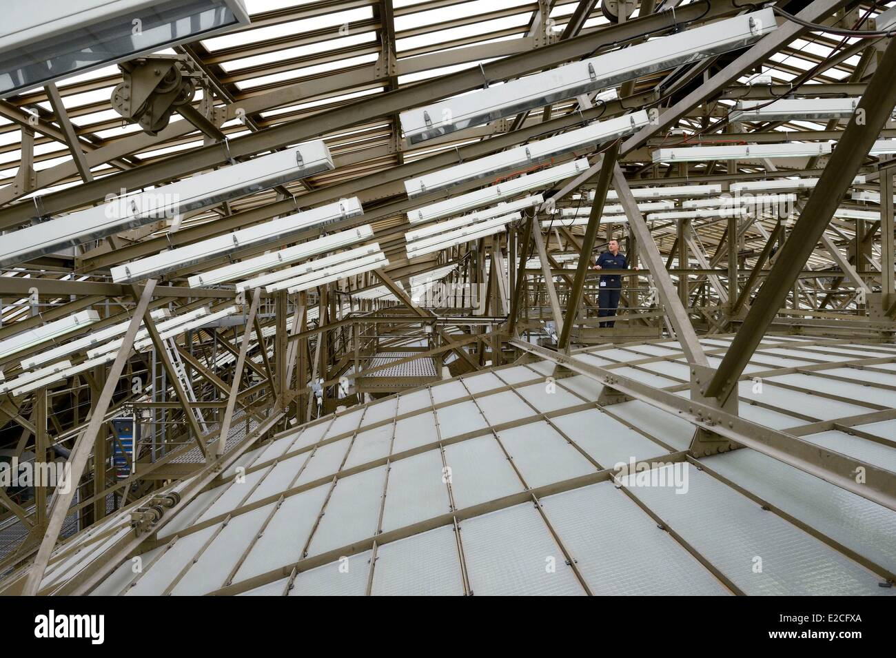 France, Paris, the Orsay Museum, the attic also called double skin over the former train station - Stock Image