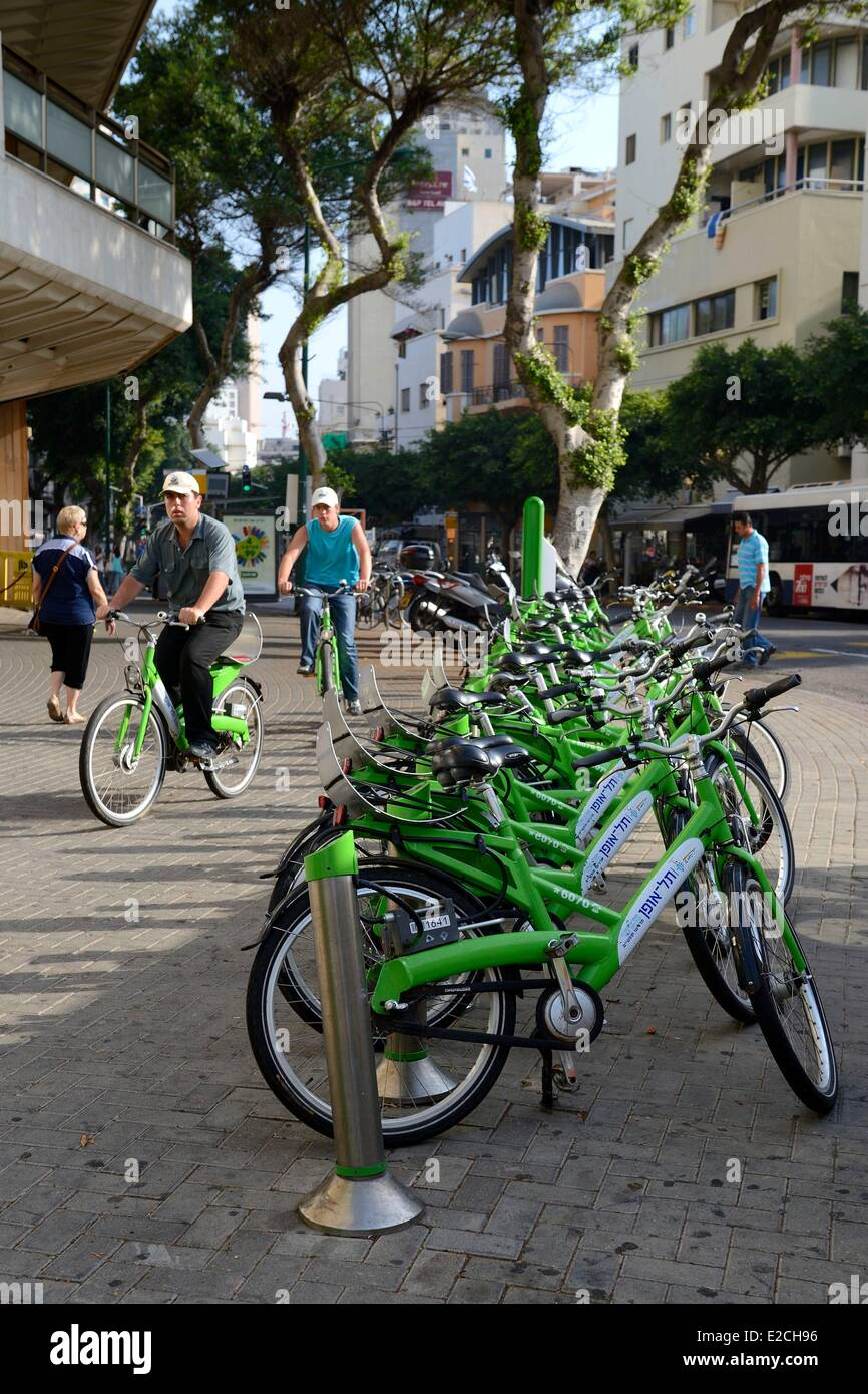 Israel, Tel Aviv, the Telofan self-service bike rental - Stock Image