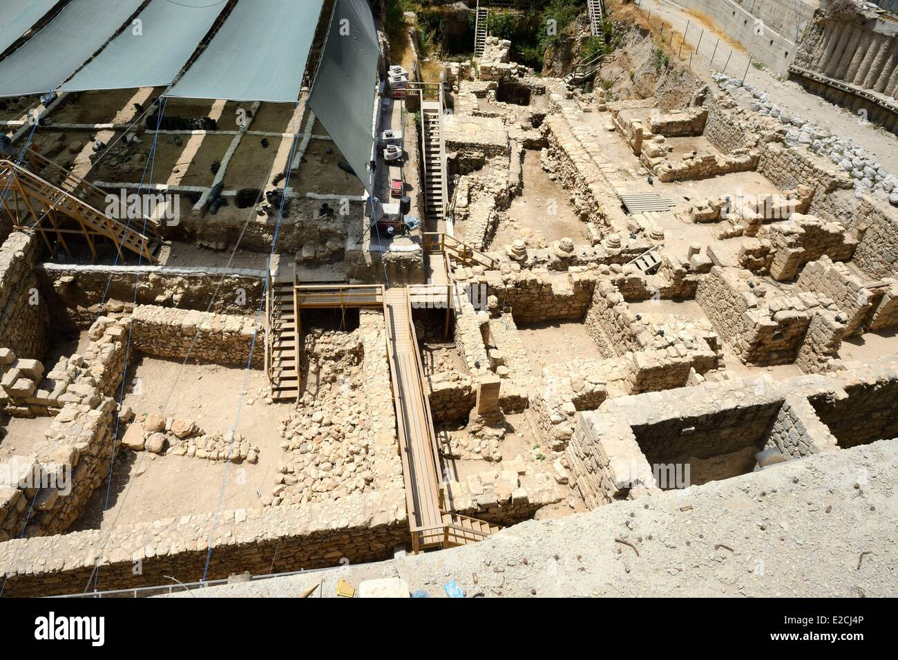 Israel, Jerusalem, holy city, the City of David south of the old town, excavation - Stock Image