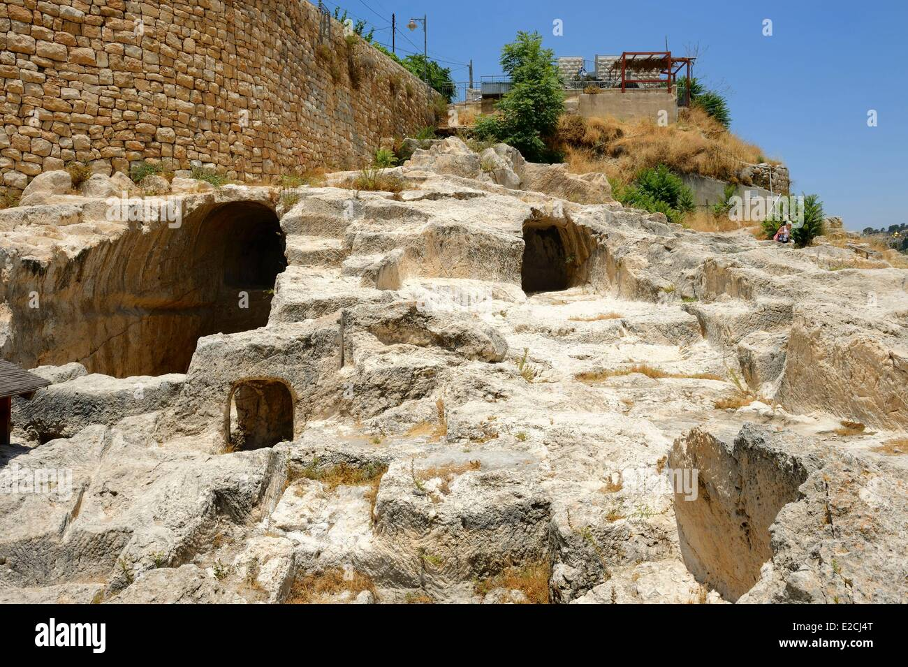 Israel, Jerusalem, holy city, City of David south of old town, weill excavations at alleged tombs of house of David - Stock Image