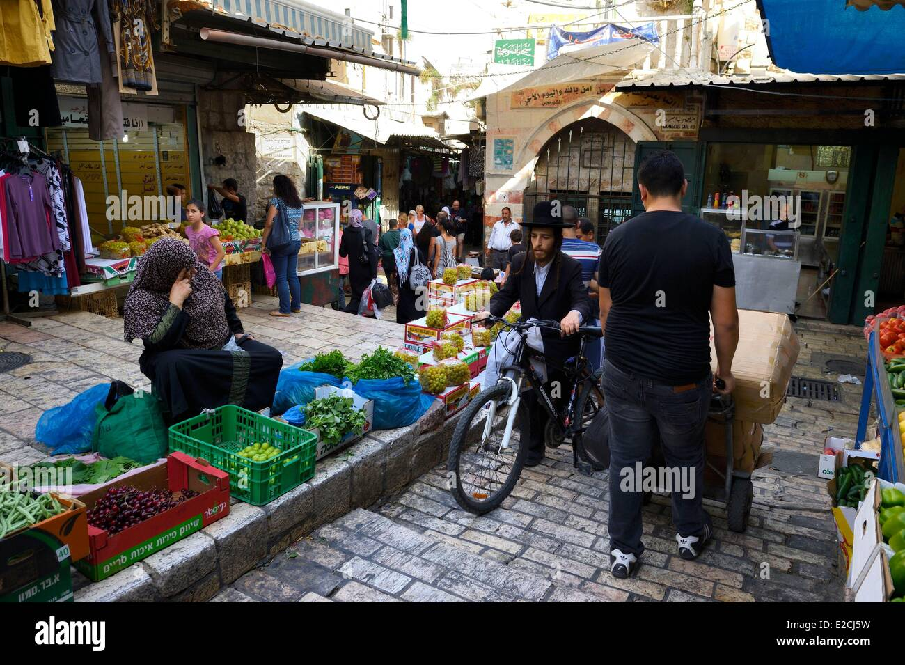 Israel, Jerusalem, holy city, old town listed as World Heritage by UNESCO, cross roads between Christian and Muslim - Stock Image