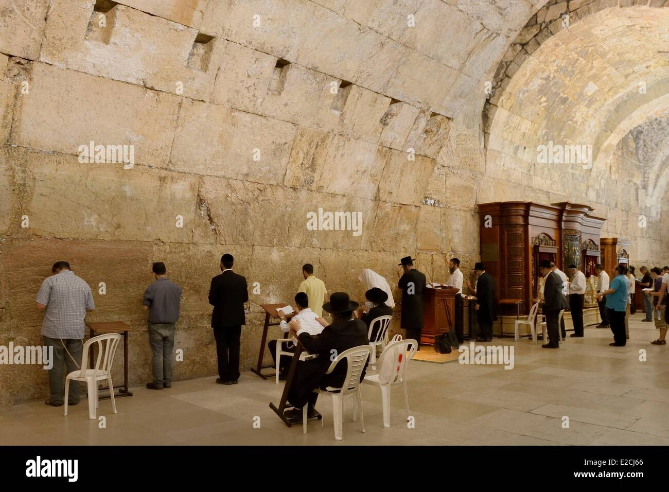 Israel, Jerusalem, holy city, the old town listed as World Heritage by UNESCO, covered part of the Western Wall Stock Photo