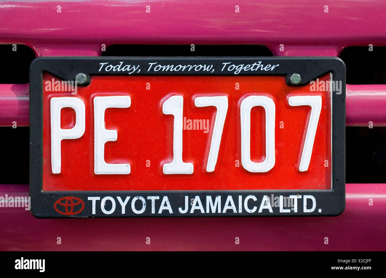 Jamaica, West Indies, registration plate and national device - Stock Image
