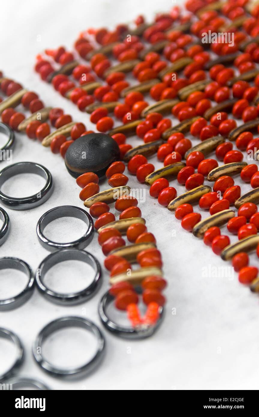 Jamaica, West Indies, national typical handcraft, jewelerry in red coffee seeds - Stock Image