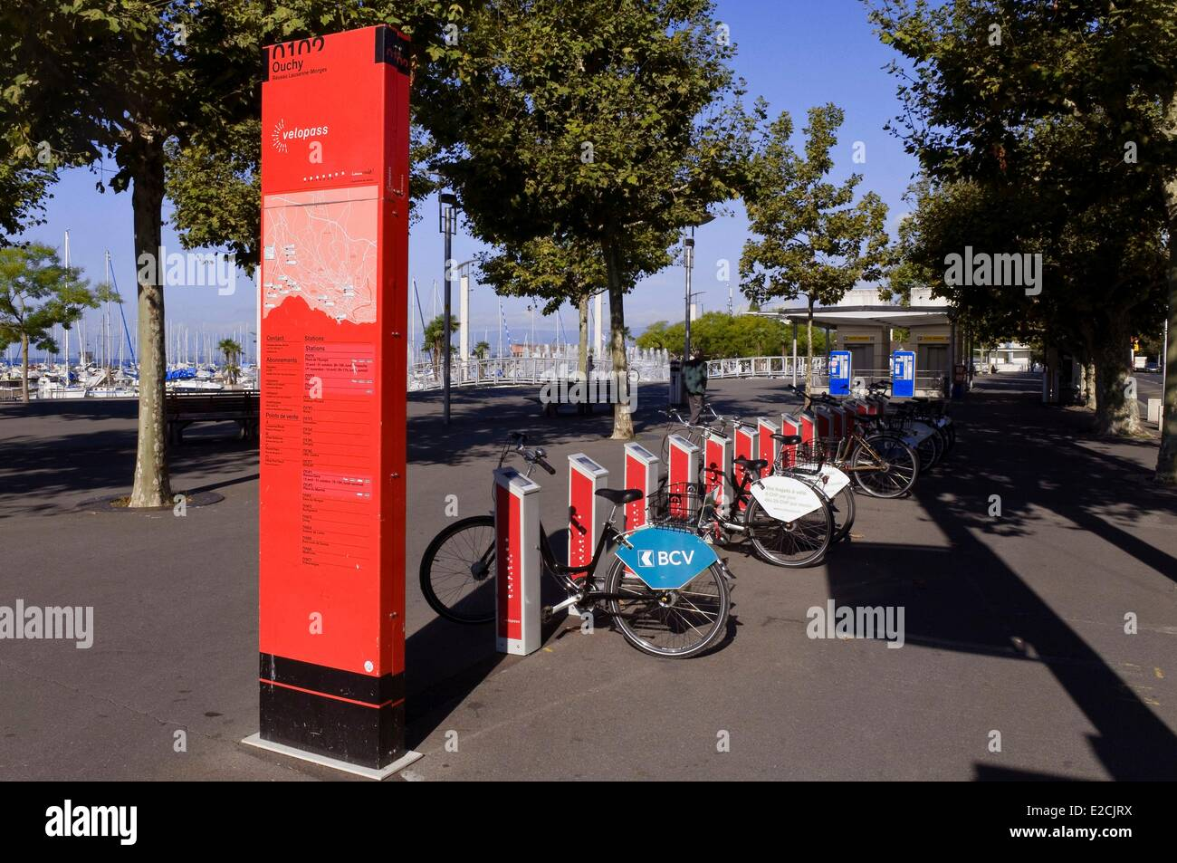 Switzerland, Canton of Vaud, Lausanne, Ouchy district of Lac Leman, Velo-Pass station on Place du Vieux Port - Stock Image