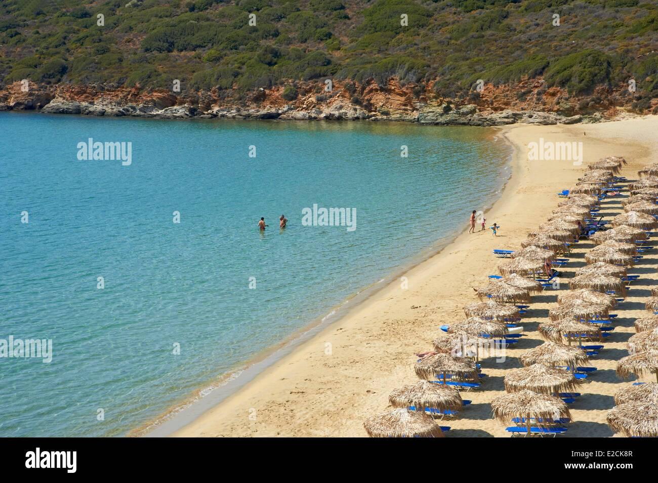 Greece Cyclades Andros island Agios Petros beach Stock Photo