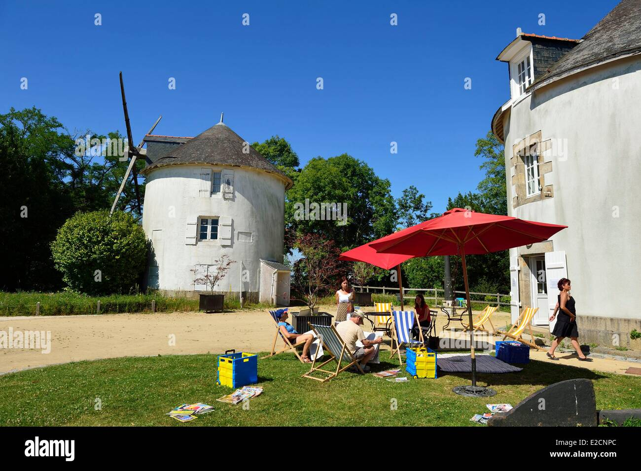 France Morbihan Lorient downtown the mills on the hill of Faouedic in the enclosure of the Arsenal at the foot of - Stock Image